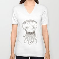 cracked V-neck T-shirts featuring Cracked Octopus by joannaciolek