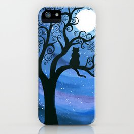 Meowing at the moon - moonlight cat painting iPhone Case