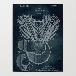 1919 Engine by W. S Harley patent art Poster