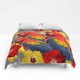 TROPICAL FLORAL MACAWS & RED YELLOW HIBISCUS FLOWERS Comforters