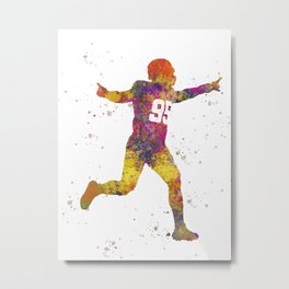 American Football player 09 in watercolor Metal Print