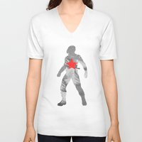 winter soldier V-neck T-shirts featuring Winter Soldier (Bucky Barnes) by MajesticSeahawk Designs