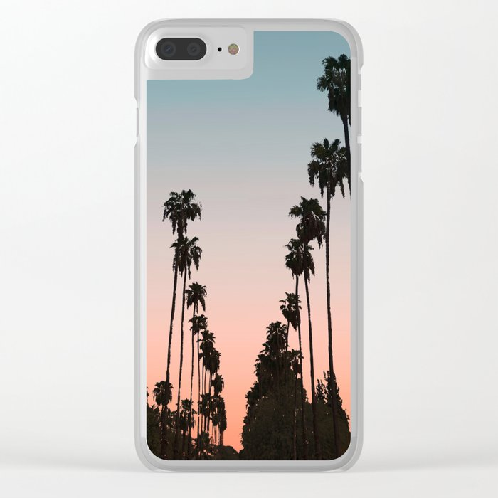 California Sunset // Palm Tree Silhouette Street View Orange and Blue Color Sky Beach Photography Clear iPhone Case