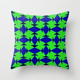 Diamond Squares Game Board Fish Faces Pattern Throw Pillow