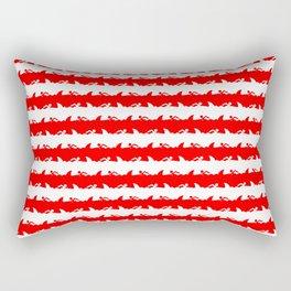Bondi Beach Red and White Shark Attack Beach Stripe Rectangular Pillow