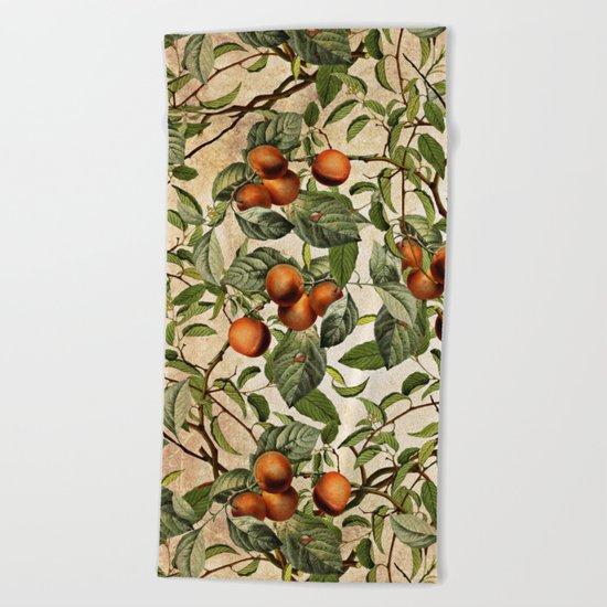 Vintage Fruit Pattern Beach Towel