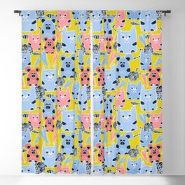 Friendship of a cat and mouse, ball, hearts Blackout Curtain