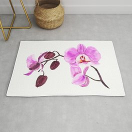 pink orchid flower watercolor painting Rug
