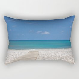Beautiful beach view on the sea in Spain Albir with wooden path,summer day with blue sky Rectangular Pillow