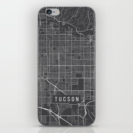 Tucson Map, Arizona USA - Charcoal Portrait iPhone Skin
