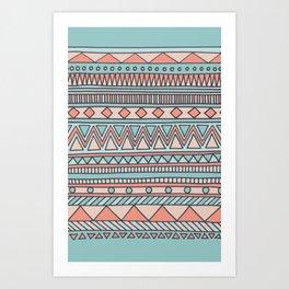 Tribal #4 (Coral/Aqua) Art Print
