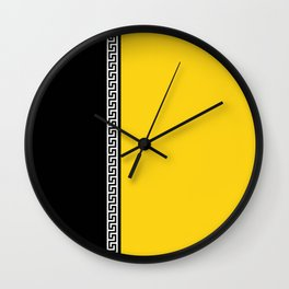 Greek Key 2 - Yellow and Black Wall Clock