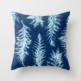 Botanical Pattern 1 (blue) Throw Pillow