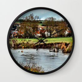 Dorf am Fluss Wall Clock