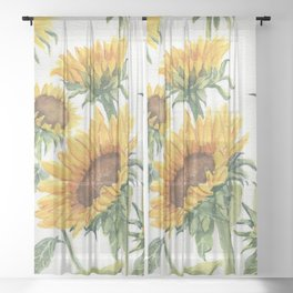 Blooming Sunflowers Sheer Curtain