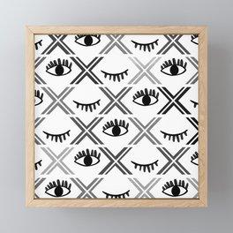 Original Black and White Eyes Design Framed Mini Art Print