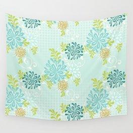 Bold Graphic Mod Mum Modern Chrysanthemum Floral Flower Aqua Blue Wall Tapestry