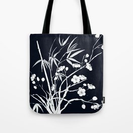 bamboo and plum flower white on black Tote Bag