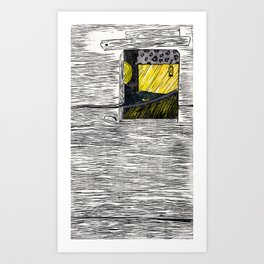 FLOATING MARKET| WOOD-CUT | WHITE |PRINT DOWNLOAD Art Print