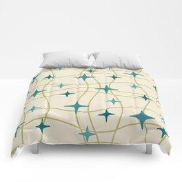 Mid Century Modern Cosmic Star Pattern 693 Cream Turquoise Olive Comforters