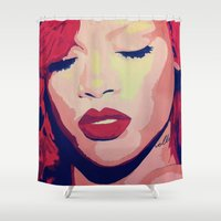 rihanna Shower Curtains featuring Rihanna Painting by Kim Ly