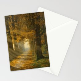 Early Morning Light, Autumn landscape painting by Max Ernst Pietschmann Stationery Cards