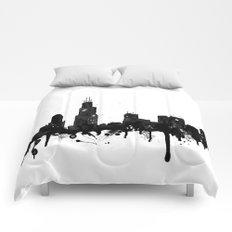 Watercolor Chicago Skyline Comforters