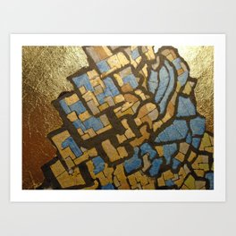 Gold cubic Eiffel tower close up Art Print