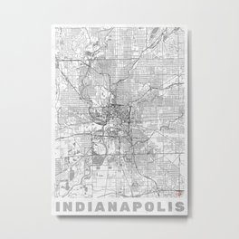 Indianapolis Map Line Metal Print