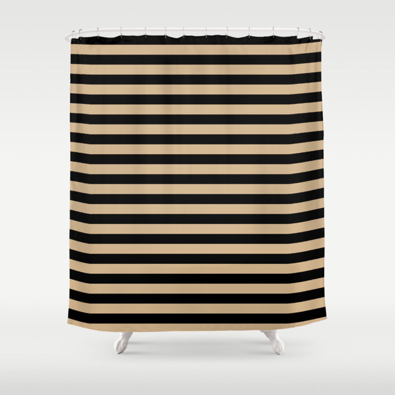 Tan Brown And Black Horizontal Stripes Shower Curtain