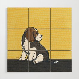 Beagle Puppy Portait by Friztin Wood Wall Art