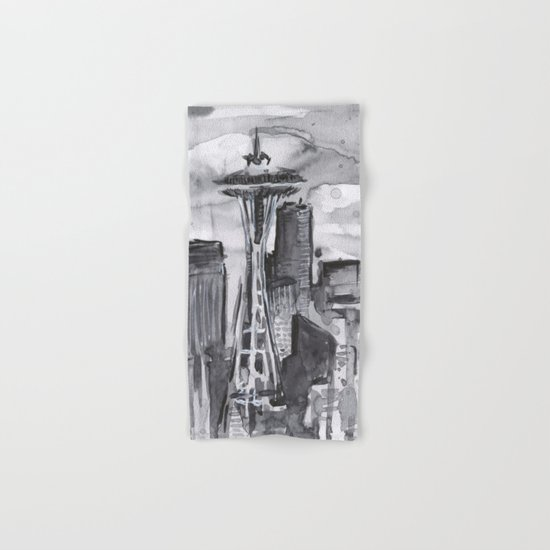 Seattle Skyline Watercolor Space Needle Hand & Bath Towel
