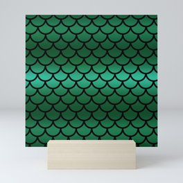 Green & Black Mermaid Mini Art Print