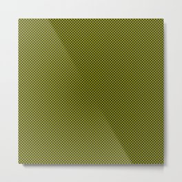 Houndstooth Black & Poison Green small Metal Print