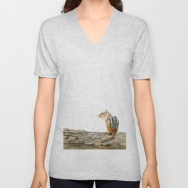Little Chip - a painting of a Chipmunk by Teresa Thompson Unisex V-Neck
