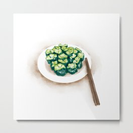 Watercolor Illustration of Chinese Cuisine - Cucumber with Mustard | 芥末黄瓜 Metal Print