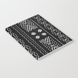 Black mudcloth with shells Notebook