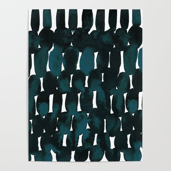 Watercolor Pattern in Teal and Black Poster
