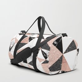 Modern black white marble rose gold glitter foil geometric abstract triangles pattern Duffle Bag