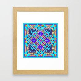 Western Style Purple Turquoise Butterflies Creamy Gold Patterns Framed Art Print