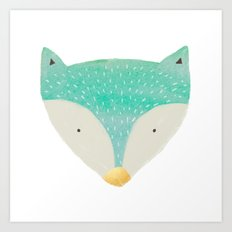 emerald fox with gold nose Art Print