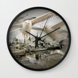 Gulls moving amidst Boats in a foggy harbor Wall Clock