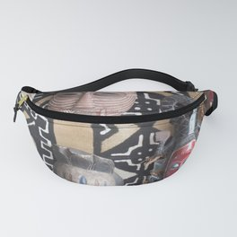 African Mask display on fabric collection Fanny Pack