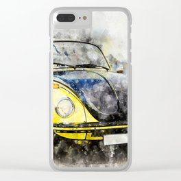 Beetle Yellow-Black Racer Clear iPhone Case