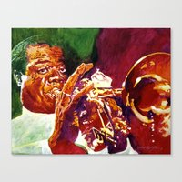 louis armstrong Canvas Prints featuring Louis Armstrong Wonderful World by David Lloyd Glover