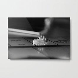 Monopoly Battleship Token in Black and White Metal Print