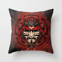 Samurai Mask, Budo, Bushido, Throw Pillow