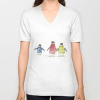 penguins V-neck T-shirts featuring penguins by Maria Durgarian