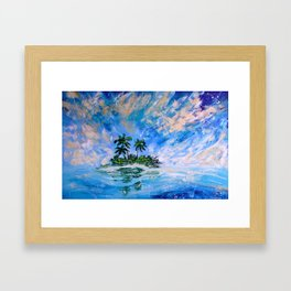 Blue Tropical Paradise Island Painting Framed Art Print