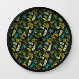 Forest Ferns Illustrated Pattern Wall Clock